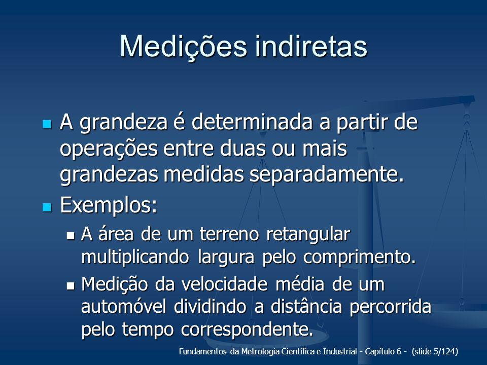 Fundamentos da Metrologia Científica e Industrial - Capítulo 6 - (slide 5/124) Medições indiretas A grandeza é determinada a partir de operações entre