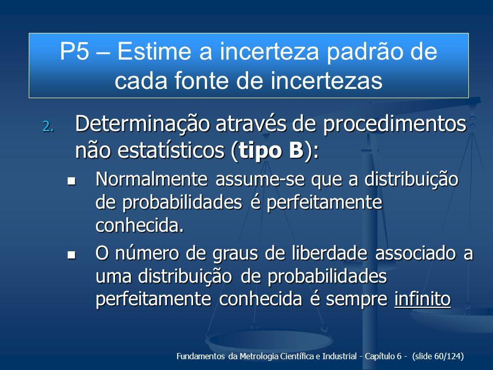 Fundamentos da Metrologia Científica e Industrial - Capítulo 6 - (slide 60/124) 2. Determinação através de procedimentos não estatísticos (tipo B): No