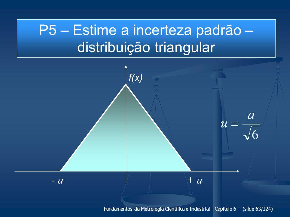 Fundamentos da Metrologia Científica e Industrial - Capítulo 6 - (slide 63/124) + a- a f(x) P5 – Estime a incerteza padrão – distribuição triangular