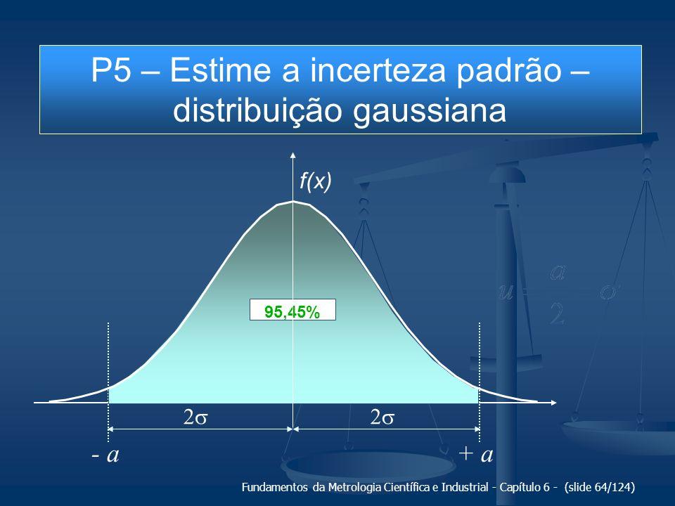 Fundamentos da Metrologia Científica e Industrial - Capítulo 6 - (slide 64/124) + a- a 95,45% f(x) P5 – Estime a incerteza padrão – distribuição gauss