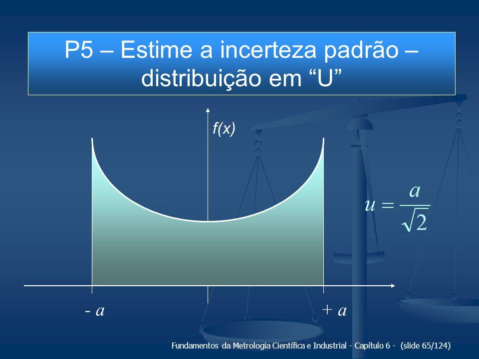 Fundamentos da Metrologia Científica e Industrial - Capítulo 6 - (slide 65/124) + a- a f(x) P5 – Estime a incerteza padrão – distribuição em U