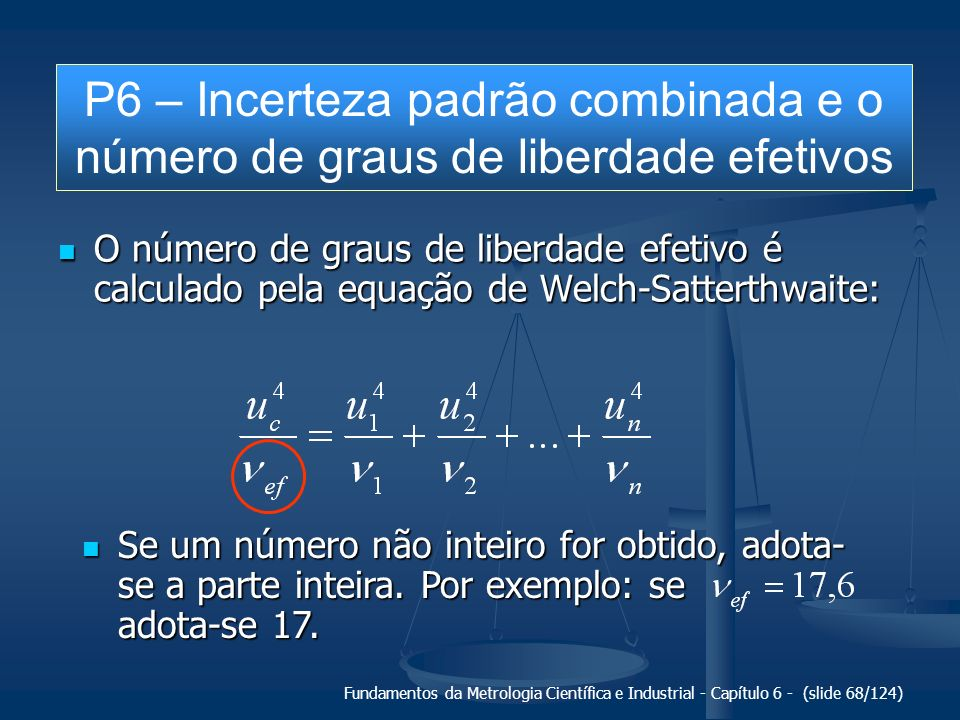 Fundamentos da Metrologia Científica e Industrial - Capítulo 6 - (slide 68/124) O número de graus de liberdade efetivo é calculado pela equação de Wel