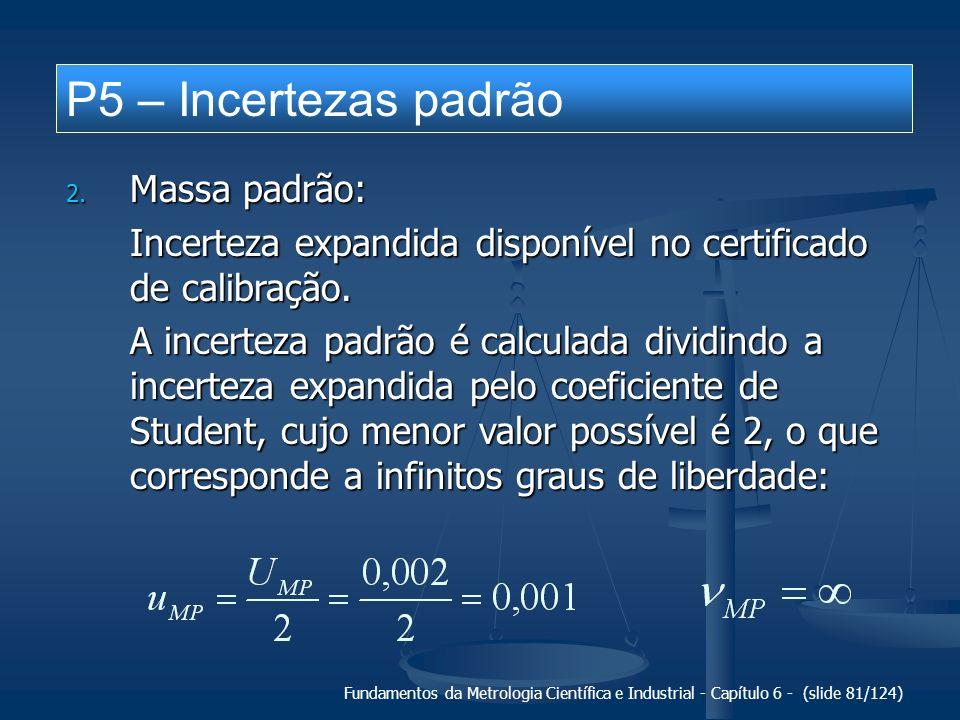 Fundamentos da Metrologia Científica e Industrial - Capítulo 6 - (slide 81/124) P5 – Incertezas padrão 2. Massa padrão: Incerteza expandida disponível