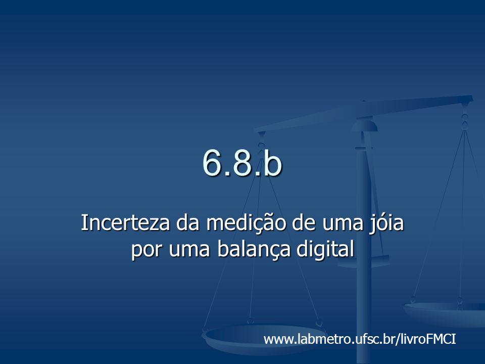 www.labmetro.ufsc.br/livroFMCI 6.8.b Incerteza da medição de uma jóia por uma balança digital