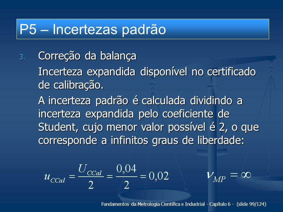 Fundamentos da Metrologia Científica e Industrial - Capítulo 6 - (slide 99/124) P5 – Incertezas padrão 3. Correção da balança Incerteza expandida disp