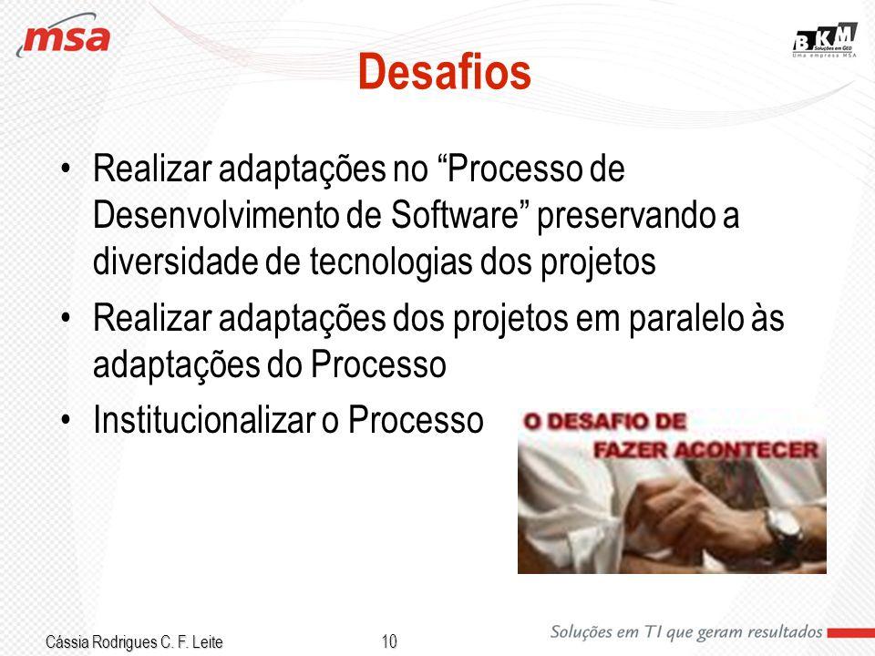 Cássia Rodrigues C. F. Leite 10 Desafios Realizar adaptações no Processo de Desenvolvimento de Software preservando a diversidade de tecnologias dos p