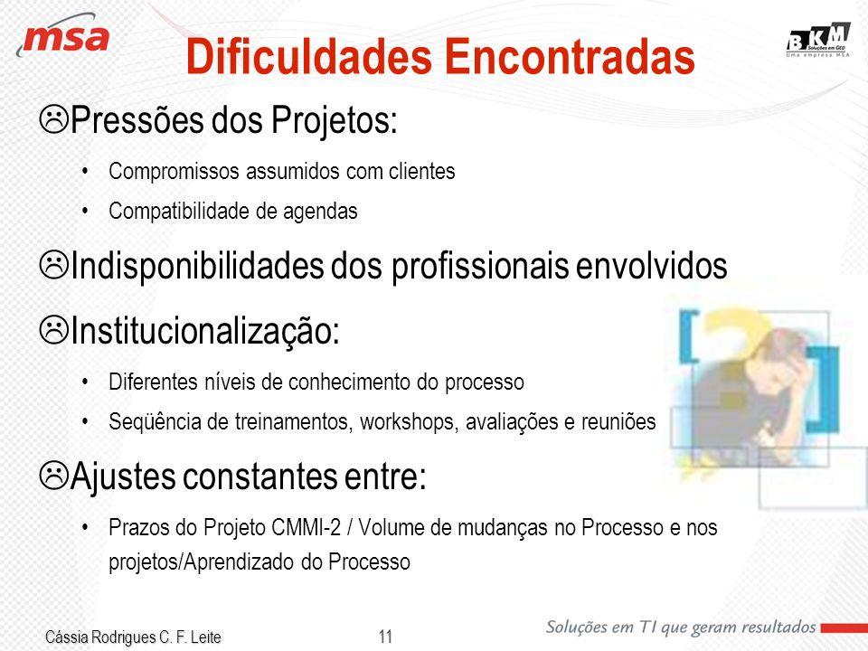 Cássia Rodrigues C. F. Leite 11 Dificuldades Encontradas Pressões dos Projetos: Compromissos assumidos com clientes Compatibilidade de agendas Indispo