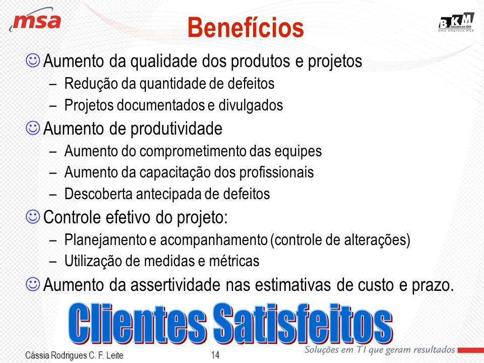 Cássia Rodrigues C. F. Leite 14 Benefícios Aumento da qualidade dos produtos e projetos –Redução da quantidade de defeitos –Projetos documentados e di