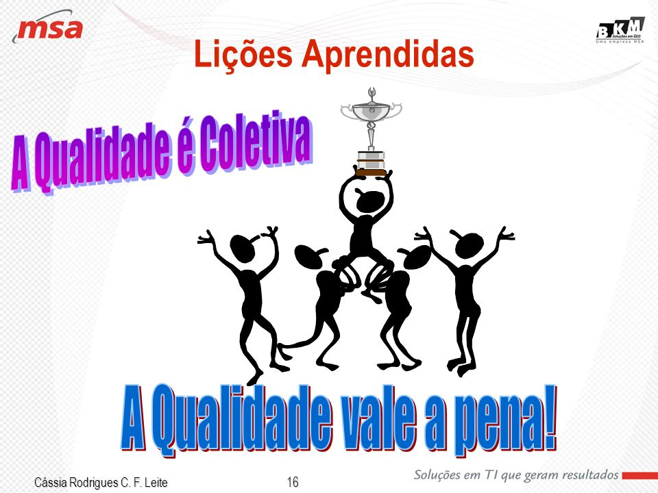 Cássia Rodrigues C. F. Leite 16 Lições Aprendidas