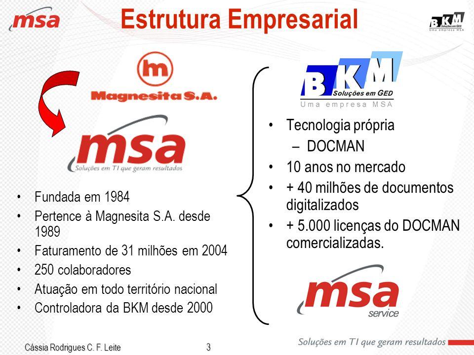 Cássia Rodrigues C. F. Leite 3 Estrutura Empresarial Fundada em 1984 Pertence à Magnesita S.A. desde 1989 Faturamento de 31 milhões em 2004 250 colabo