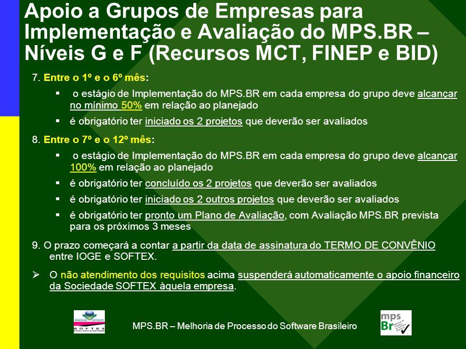 MPS.BR – Melhoria de Processo do Software Brasileiro Apoio a Grupos de Empresas para Implementação e Avaliação do MPS.BR – Níveis G e F (Recursos MCT, FINEP e BID) 7.