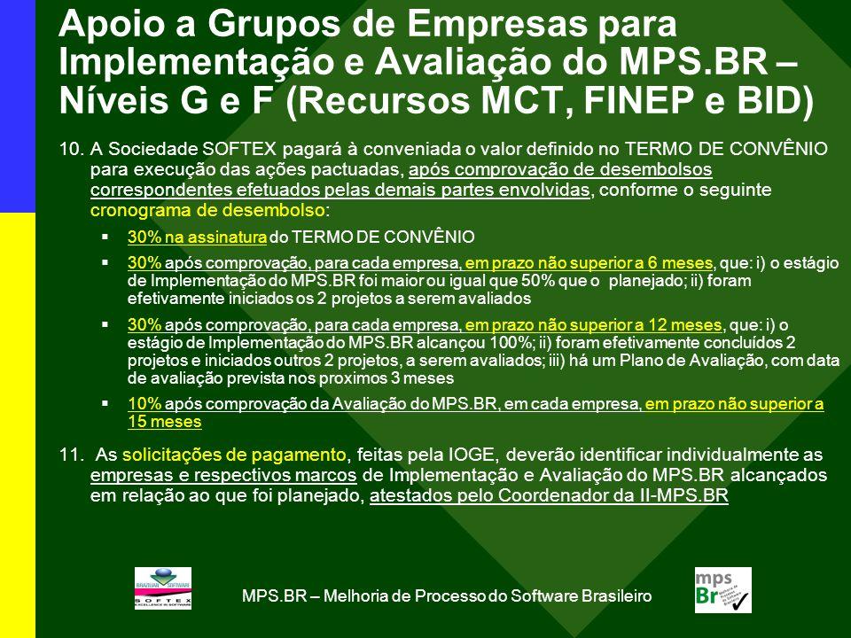 MPS.BR – Melhoria de Processo do Software Brasileiro Apoio a Grupos de Empresas para Implementação e Avaliação do MPS.BR – Níveis G e F (Recursos MCT, FINEP e BID) 10.