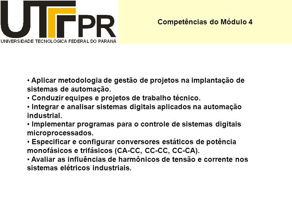 Competências do Módulo 4 Aplicar metodologia de gestão de projetos na implantação de sistemas de automação. Conduzir equipes e projetos de trabalho té