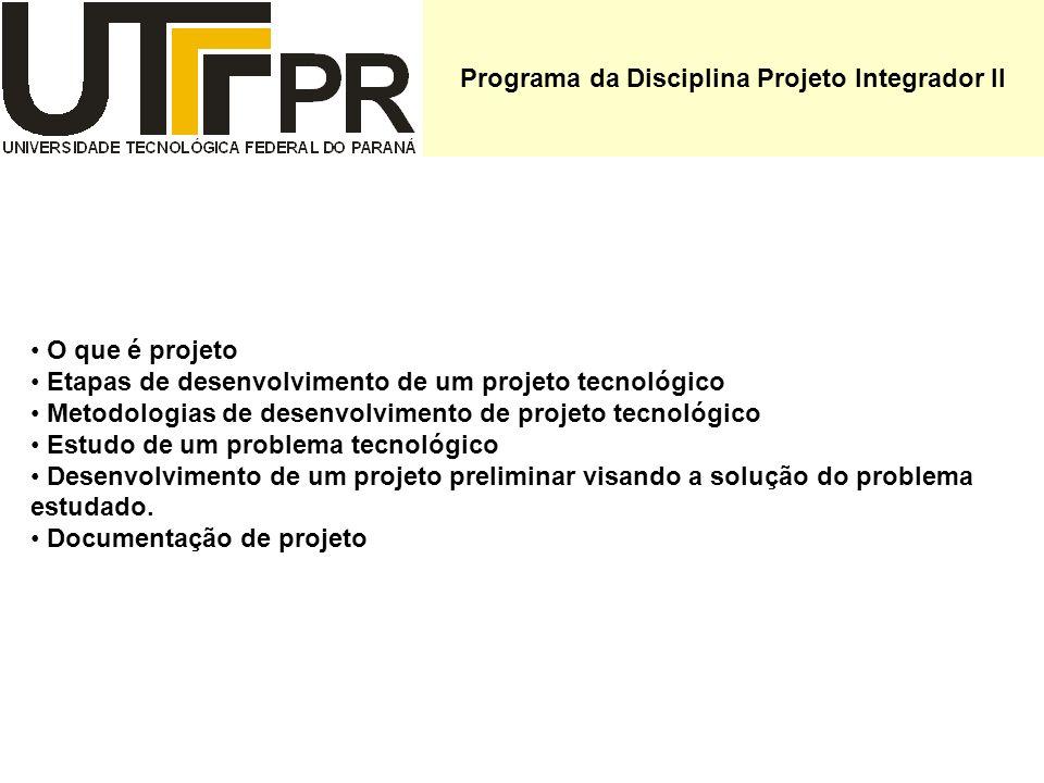 Programa da Disciplina Projeto Integrador II O que é projeto Etapas de desenvolvimento de um projeto tecnológico Metodologias de desenvolvimento de pr