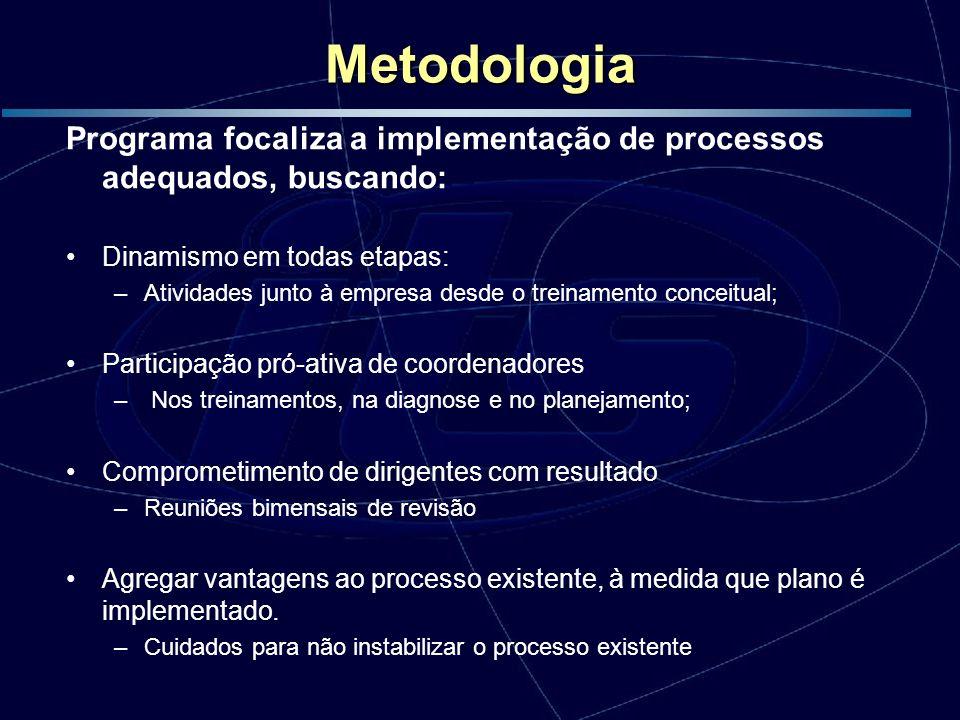 Metodologia Programa focaliza a implementação de processos adequados, buscando: Dinamismo em todas etapas: –Atividades junto à empresa desde o treinam