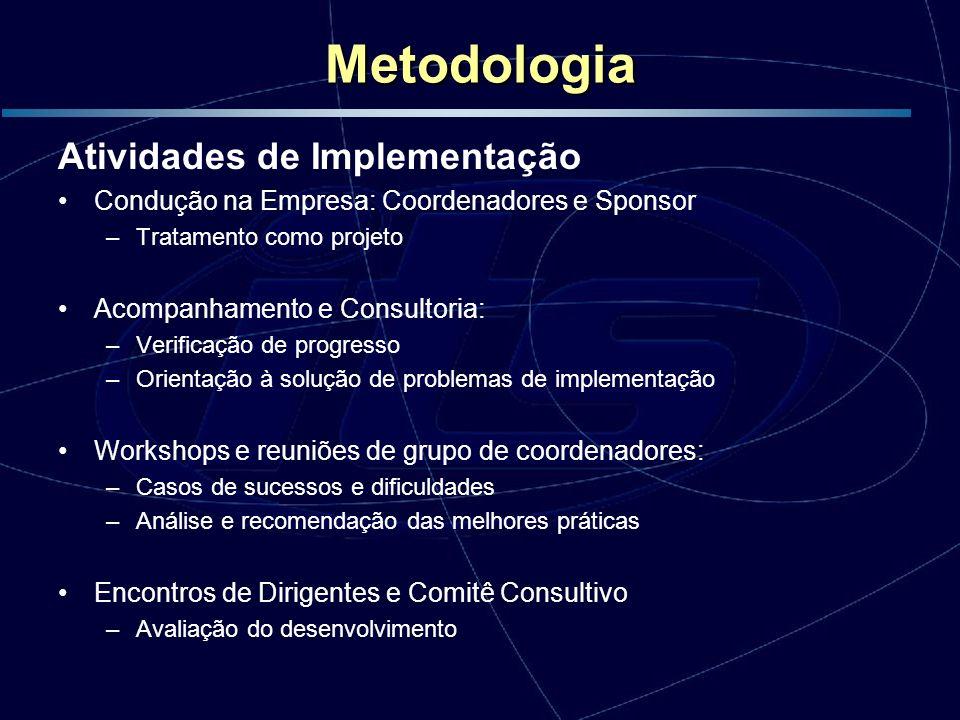 Metodologia Atividades de Implementação Condução na Empresa: Coordenadores e Sponsor –Tratamento como projeto Acompanhamento e Consultoria: –Verificaç