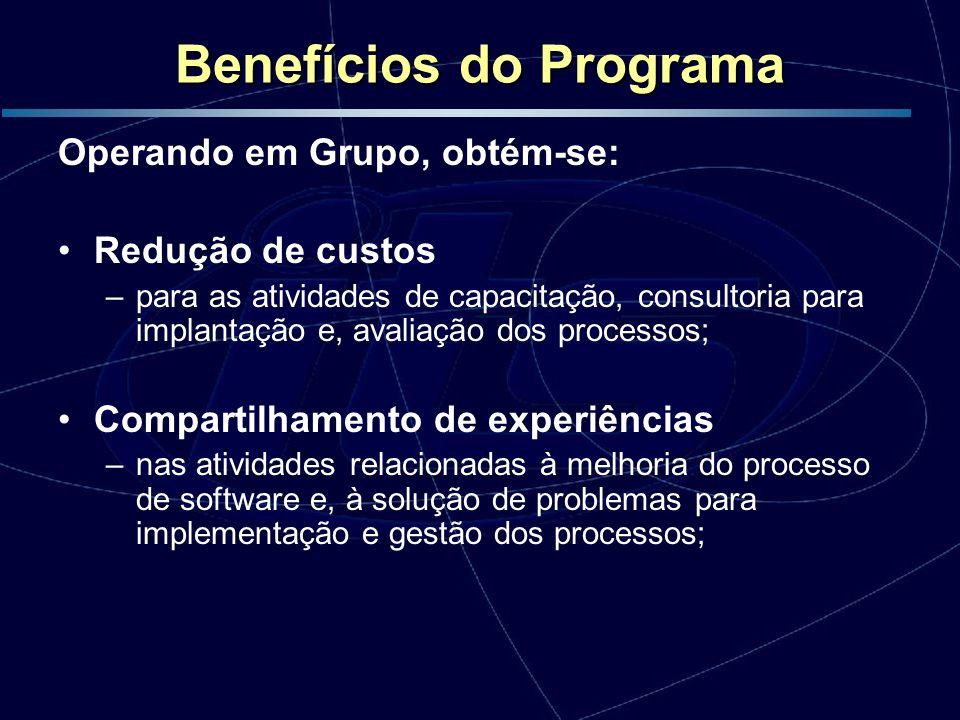 Benefícios do Programa Operando em Grupo, obtém-se: Redução de custos –para as atividades de capacitação, consultoria para implantação e, avaliação do