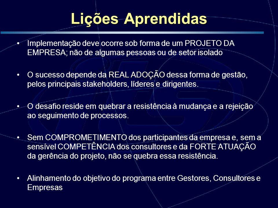 Lições Aprendidas Implementação deve ocorre sob forma de um PROJETO DA EMPRESA; não de algumas pessoas ou de setor isolado REAL ADOÇÃOO sucesso depend