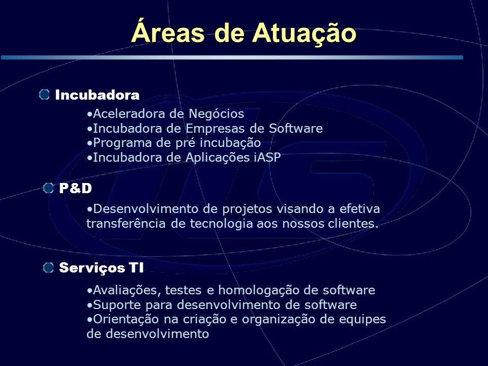 P&D Serviços TI Aceleradora de Negócios Incubadora de Empresas de Software Programa de pré incubação Incubadora de Aplicações iASP Incubadora Desenvol