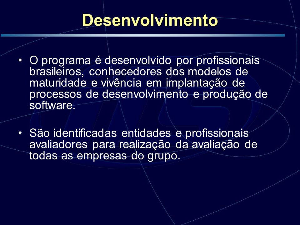 Desenvolvimento O programa é desenvolvido por profissionais brasileiros, conhecedores dos modelos de maturidade e vivência em implantação de processos