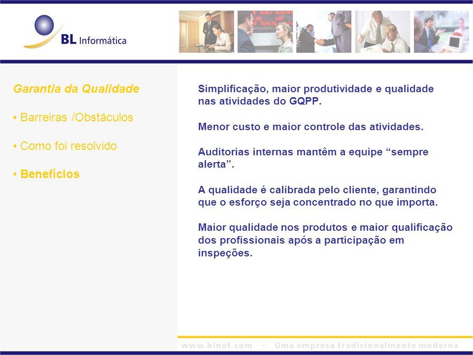 Simplificação, maior produtividade e qualidade nas atividades do GQPP. Menor custo e maior controle das atividades. Auditorias internas mantêm a equip