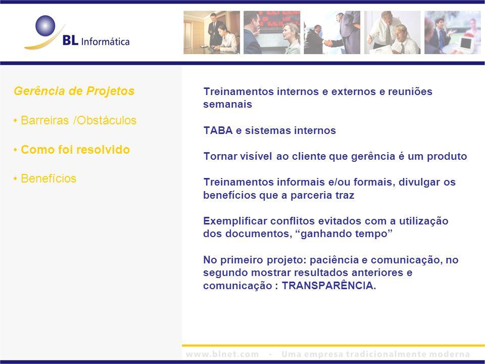 Treinamentos internos e externos e reuniões semanais TABA e sistemas internos Tornar visível ao cliente que gerência é um produto Treinamentos informa