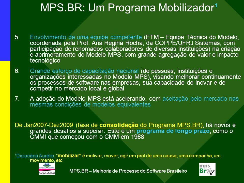 MPS.BR – Melhoria de Processo do Software Brasileiro MPS.BR: Um Programa Mobilizador¹ 5.Envolvimento de uma equipe competente (ETM – Equipe Técnica do