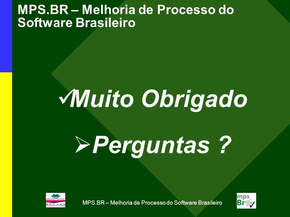 MPS.BR – Melhoria de Processo do Software Brasileiro Muito Obrigado Perguntas ?