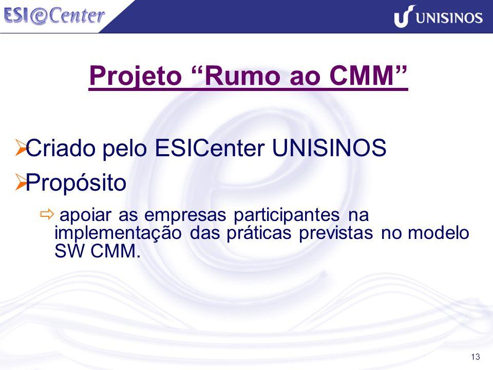 13 Projeto Rumo ao CMM Criado pelo ESICenter UNISINOS Propósito apoiar as empresas participantes na implementação das práticas previstas no modelo SW