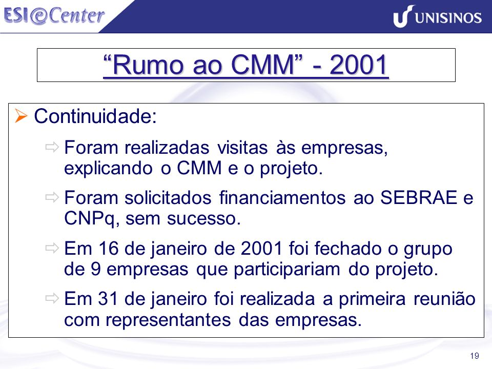 19 Rumo ao CMM - 2001 Continuidade: Foram realizadas visitas às empresas, explicando o CMM e o projeto. Foram solicitados financiamentos ao SEBRAE e C