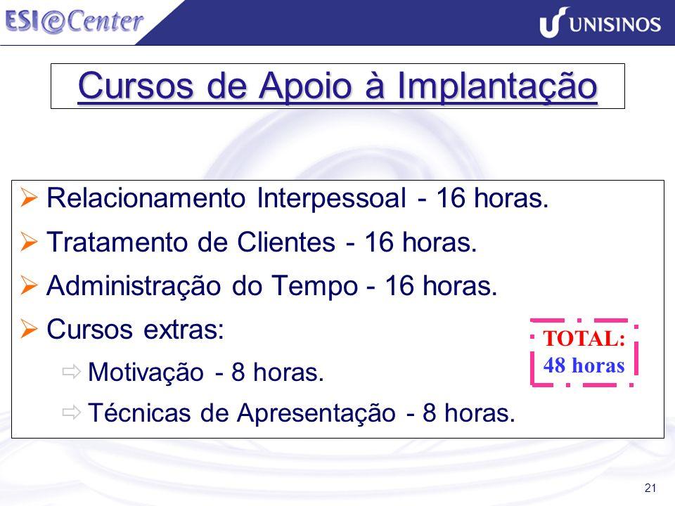 21 Cursos de Apoio à Implantação Relacionamento Interpessoal - 16 horas. Tratamento de Clientes - 16 horas. Administração do Tempo - 16 horas. Cursos