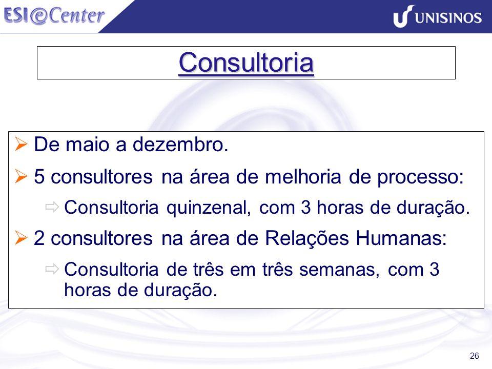 26 Consultoria De maio a dezembro. 5 consultores na área de melhoria de processo: Consultoria quinzenal, com 3 horas de duração. 2 consultores na área
