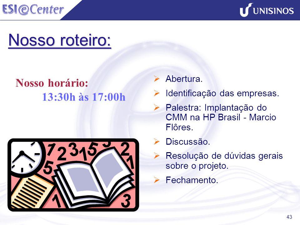 43 Nosso roteiro: Abertura. Identificação das empresas. Palestra: Implantação do CMM na HP Brasil - Marcio Flôres. Discussão. Resolução de dúvidas ger