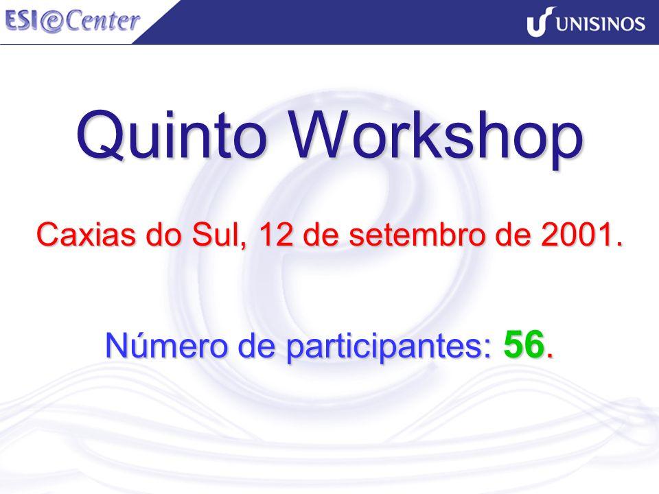 Quinto Workshop Caxias do Sul, 12 de setembro de 2001. Número de participantes: 56.