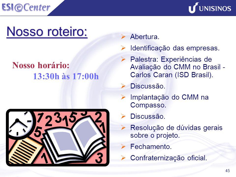 45 Nosso roteiro: Abertura. Identificação das empresas. Palestra: Experiências de Avaliação do CMM no Brasil - Carlos Caran (ISD Brasil). Discussão. I