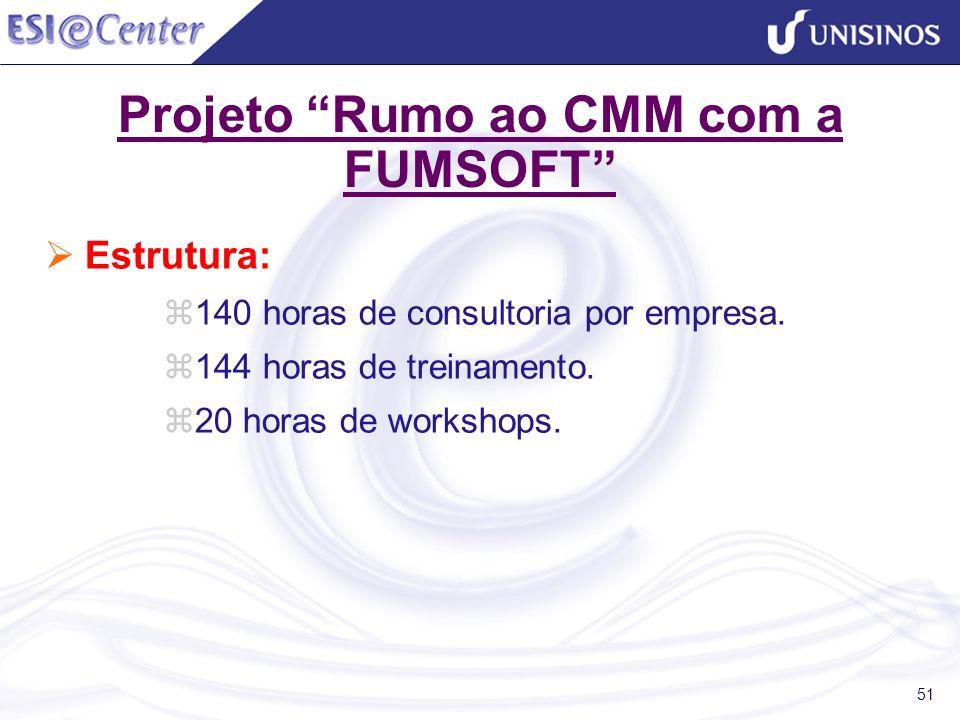 51 Projeto Rumo ao CMM com a FUMSOFT Estrutura: 140 horas de consultoria por empresa. 144 horas de treinamento. 20 horas de workshops.