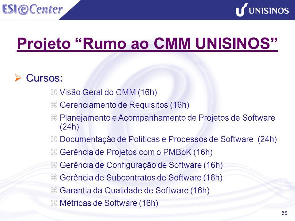 56 Projeto Rumo ao CMM UNISINOS Cursos: Cursos: Visão Geral do CMM (16h) Gerenciamento de Requisitos (16h) Planejamento e Acompanhamento de Projetos d