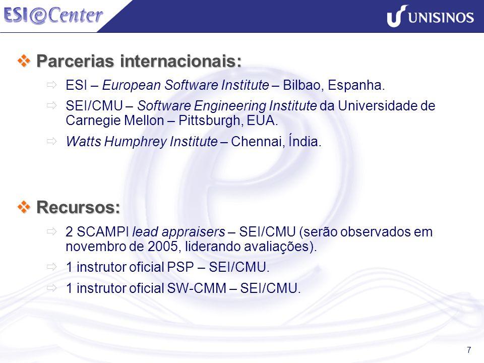7 Parcerias internacionais: Parcerias internacionais: ESI – European Software Institute – Bilbao, Espanha. SEI/CMU – Software Engineering Institute da