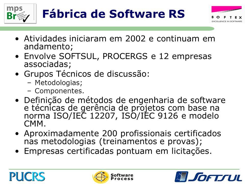 Fábrica de Software RS Atividades iniciaram em 2002 e continuam em andamento; Envolve SOFTSUL, PROCERGS e 12 empresas associadas; Grupos Técnicos de discussão: –Metodologias; –Componentes.