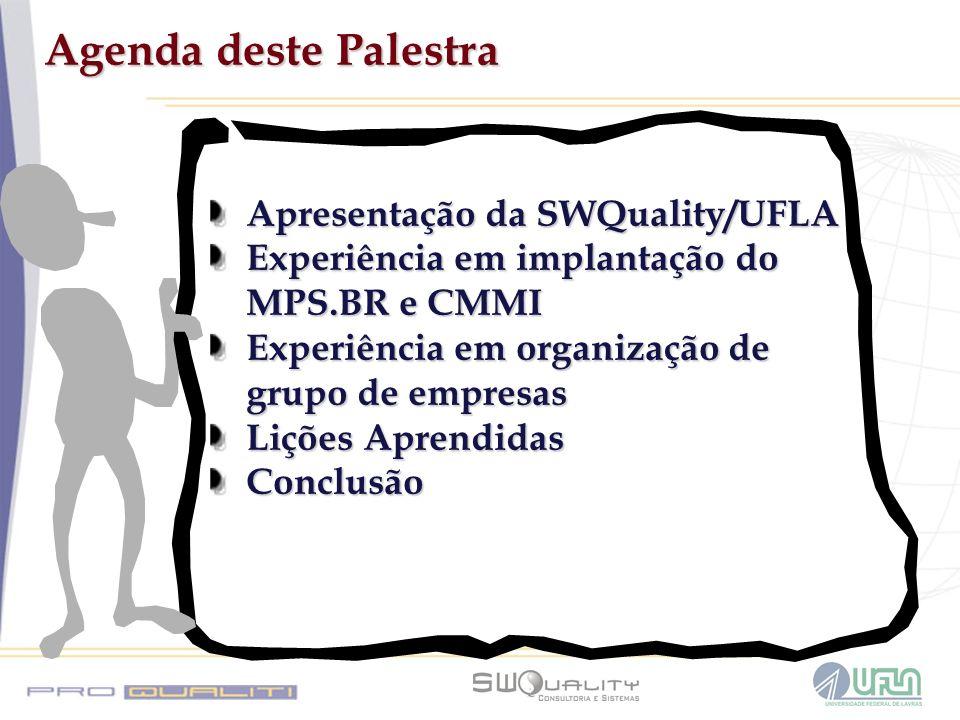 Agenda deste Palestra Apresentação da SWQuality/UFLA Experiência em implantação do MPS.BR e CMMI Experiência em organização de grupo de empresas Liçõe