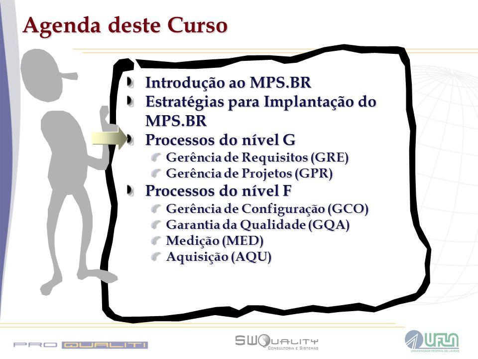 Agenda deste Curso Introdução ao MPS.BR Estratégias para Implantação do MPS.BR Processos do nível G Gerência de Requisitos (GRE) Gerência de Projetos