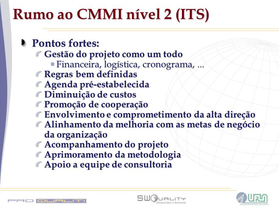 Rumo ao CMMI nível 2 (ITS) Pontos fortes: Gestão do projeto como um todo Financeira, logística, cronograma,... Regras bem definidas Agenda pré-estabel
