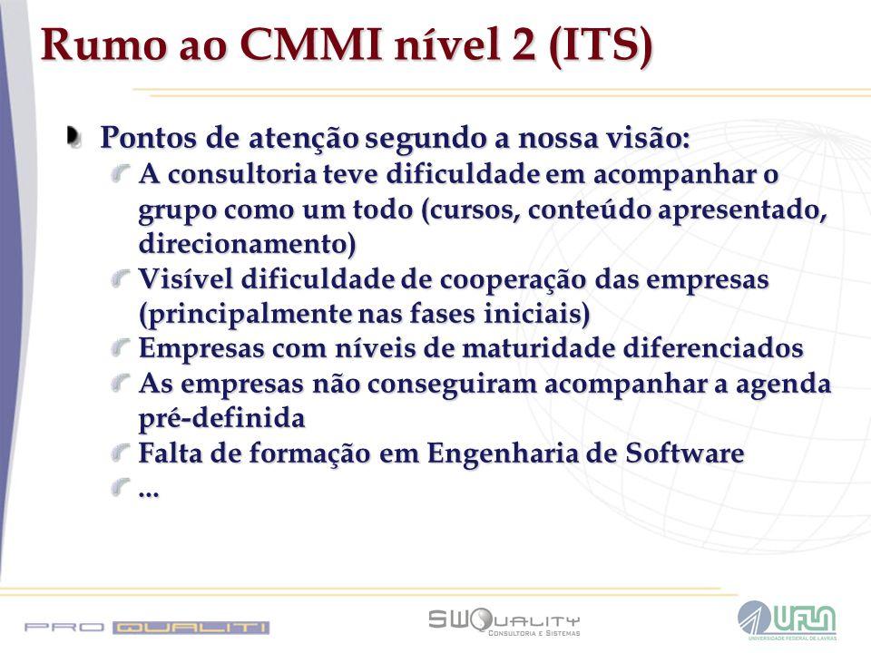 Rumo ao CMMI nível 2 (ITS) Pontos de atenção segundo a nossa visão: A consultoria teve dificuldade em acompanhar o grupo como um todo (cursos, conteúd