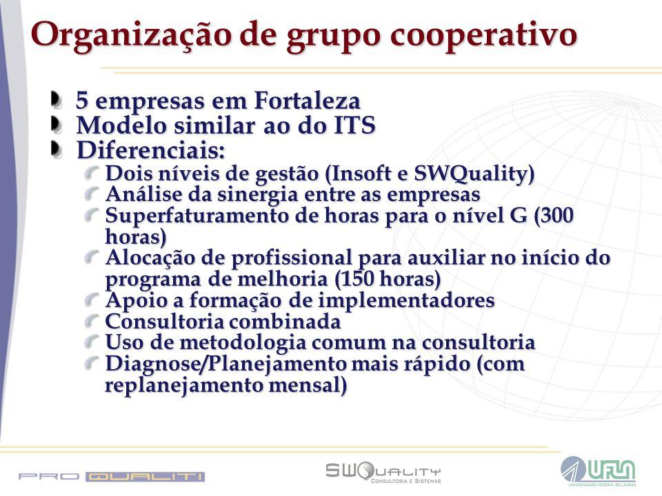 Organização de grupo cooperativo 5 empresas em Fortaleza Modelo similar ao do ITS Diferenciais: Dois níveis de gestão (Insoft e SWQuality) Análise da
