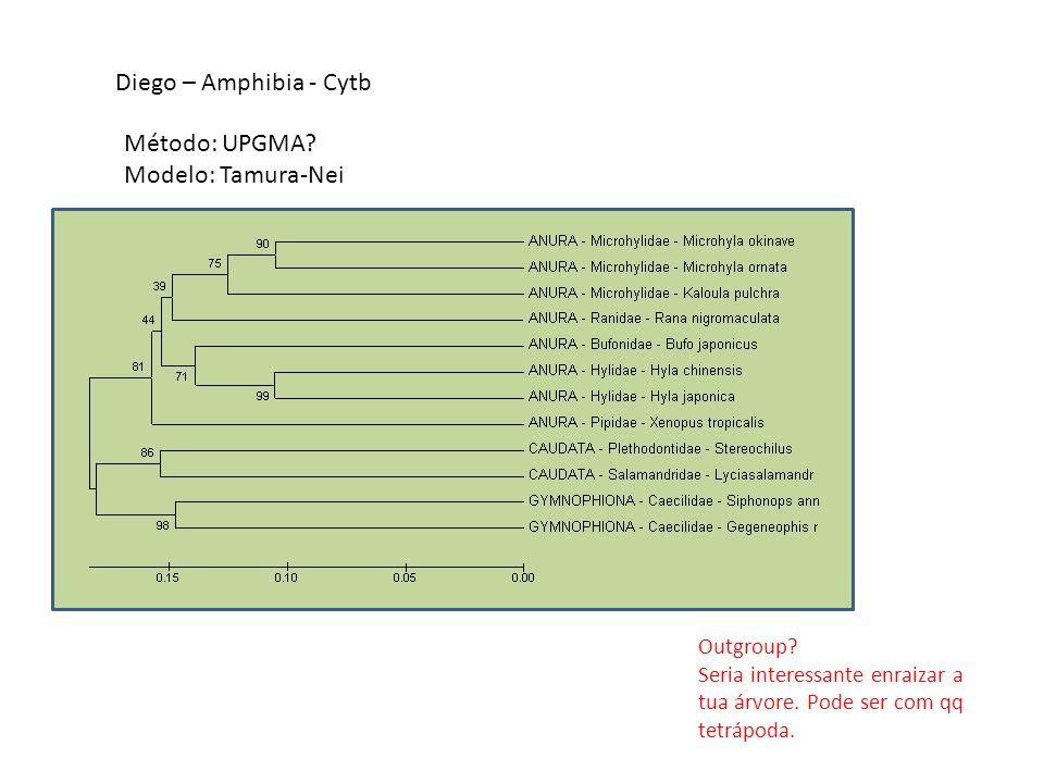 Diego – Amphibia - Cytb Método: UPGMA? Modelo: Tamura-Nei Outgroup? Seria interessante enraizar a tua árvore. Pode ser com qq tetrápoda.