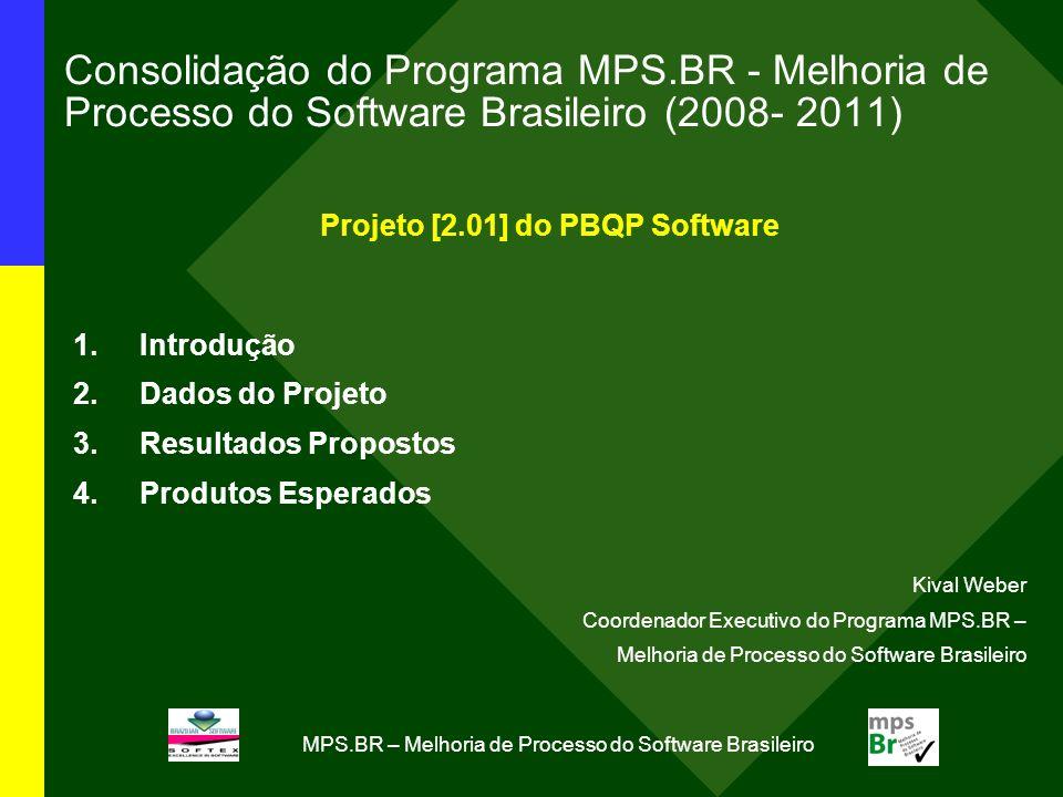 MPS.BR – Melhoria de Processo do Software Brasileiro Consolidação do Programa MPS.BR - Melhoria de Processo do Software Brasileiro (2008- 2011) Projeto [2.01] do PBQP Software 1.Introdução 2.Dados do Projeto 3.Resultados Propostos 4.Produtos Esperados Kival Weber Coordenador Executivo do Programa MPS.BR – Melhoria de Processo do Software Brasileiro
