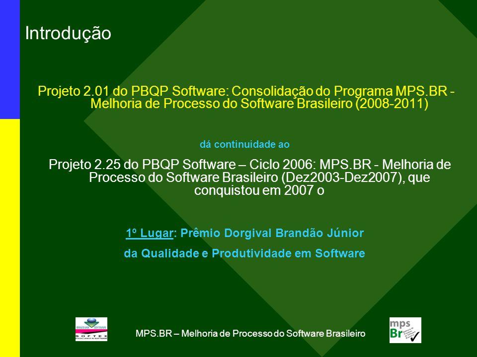 MPS.BR – Melhoria de Processo do Software Brasileiro Projeto 2.01 - PBQP Software: Consolidação do Programa MPS.BR - Melhoria de Processo do Software Brasileiro (2008- 2011) Objetivo: Consolidação do programa MPS.BR, no período 2008- 2011, visando a melhoria de processo do software brasileiro Cronograma e estágio atual de desenvolvimento: 4/4 Probabilidade de conclusão no prazo previsto: 100% até 2011