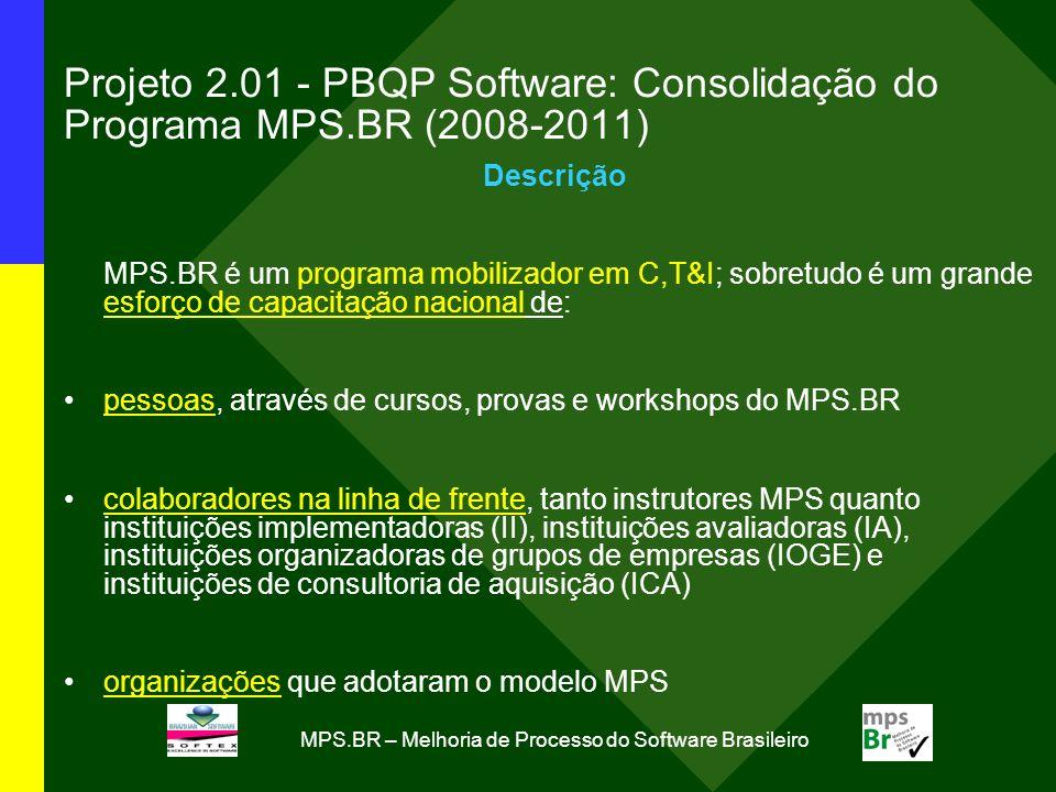 MPS.BR – Melhoria de Processo do Software Brasileiro Projeto 2.01 - PBQP Software: Consolidação do Programa MPS.BR (2008-2011) Descrição MPS.BR é um programa mobilizador em C,T&I; sobretudo é um grande esforço de capacitação nacional de: pessoas, através de cursos, provas e workshops do MPS.BR colaboradores na linha de frente, tanto instrutores MPS quanto instituições implementadoras (II), instituições avaliadoras (IA), instituições organizadoras de grupos de empresas (IOGE) e instituições de consultoria de aquisição (ICA) organizações que adotaram o modelo MPS