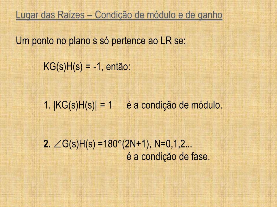 Lugar das Raízes – Condição de módulo e de ganho Um ponto no plano s só pertence ao LR se: KG(s)H(s) = -1, então: 1. |KG(s)H(s)| = 1é a condição de mó
