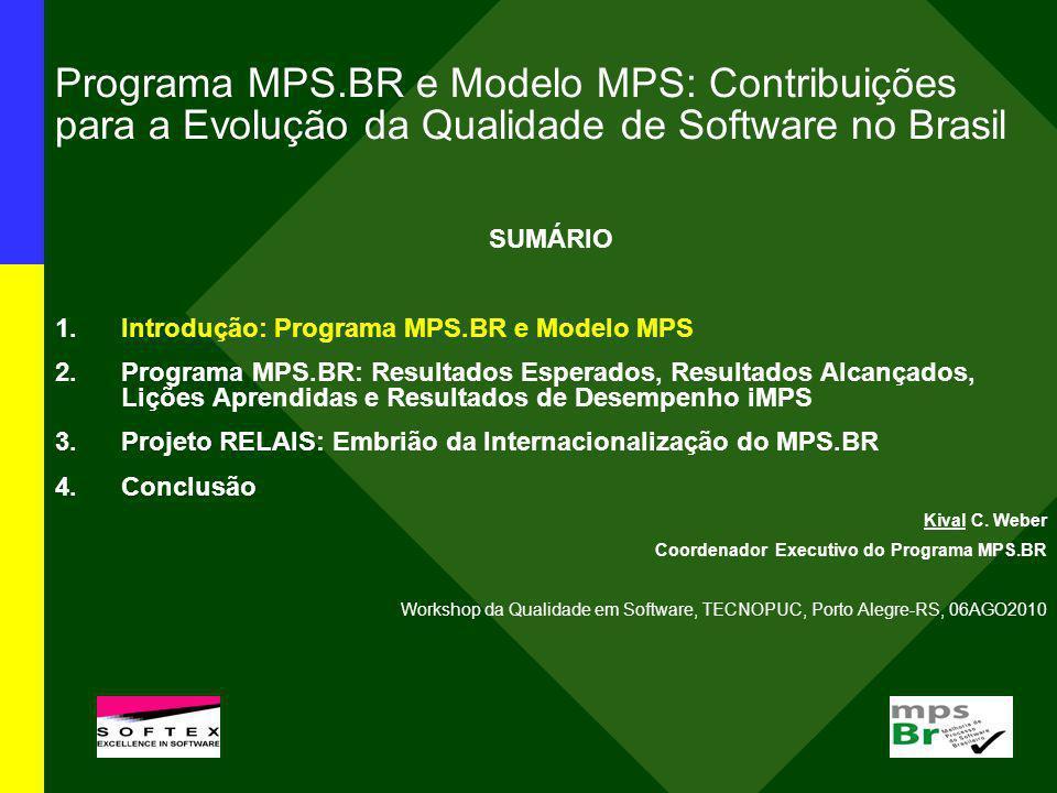 Resultados Alcançados: JAN2004-JUL2010 Meta técnica: criação e aprimoramento do modelo MPS 1.Guias MPS (disponíveis em Português e Espanhol para download gratuito em www.softex.br/mpsbr): Guia Geral:2009 Guia de Aquisição:2009 Guia de Implementação:2009 (10 partes) Guia de Avaliação:2009 2.Instituições Implementadoras (II): 18 II credenciadas (COMUNICADO 3/2004), com 119 implementadores MPS associados 3.Instituições Avaliadoras (IA): 12 IA credenciadas (COMUNICADO 10/2006), com 63 avaliadores MPS associados 4.Instituições de Consultoria de Aquisição (ICA): 2 ICA em análise (COMUNICADO 12/2006 atualizado em 12JUL2010) e 5 CA habilitados